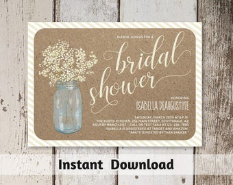 Printable Bridal Shower Invitation Template - Rustic Floral Baby Breath in Mason Jar on Kraft Background - Instant Download Digital File PDF