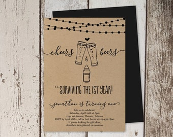 Cheers & Beers to Surviving the First Year - 1st Birthday Invitation Template, Party Invite Instant Download Digital File PDF - Kraft Paper