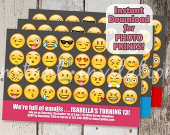 Emoji Invitation for Birthday Party - Printable digital file instant download - Smiley emoji theme Invite - DIY Photo prints or card stock