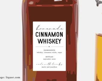 Homemade Cinnamon Whiskey Label Template - Printable Gift Sticker, Personalize Custom Editable PDF Digital File Instant Download DIY