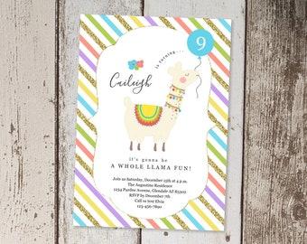 Llama Invitation Template, Printable Girls Birthday Invitation, Whole Llama Fun Theme Party Invite - Instant Download Digital File Easy PDF