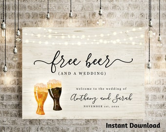 Funny Free Beer Welcome Sign Printable Template - Couple Baby Shower Wedding Birthday Brewery Poster DIY Instant Download Digital File PDF