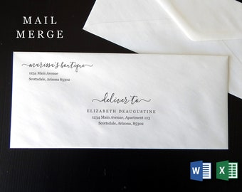 Business Envelope Template Microsoft Word Mail Merge, Printable Address Template, Modern Business Stationary Instant Download Digital File