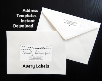 Printable Address Template - Envelope Labels Avery 2x4 & 1x2-5/8 - String Light - Wedding Christmas etc - Instant Download Digital File PDF
