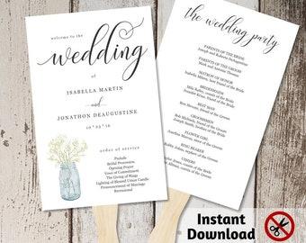 Wedding Program Fan Template - Printable Order of Service - Rustic Mason Jar, Baby Breath - Editable PDF Instant Download DIY Digital File