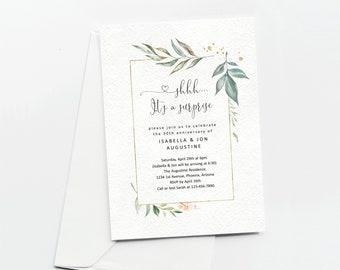 Surprise Anniversary Party Invitation Template, Printable Invite Evite Instant Download Digital File, 5th 10th 20th 25th 30th 40th 50th 60th
