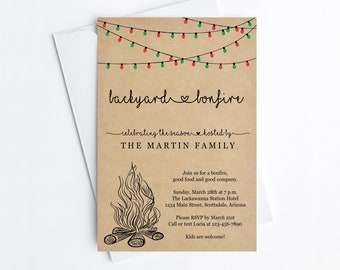 Christmas Backyard Bonfire Invitation Template - Printable Winter Party Invite, Lights, Rustic Kraft Paper Instant Download Digital File PDF