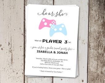 Video Games Gender Reveal Invitation Download - Player 3 He or She Game Controllers - Printable Template - Instant Digital File - 5x7