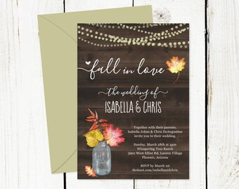Fall Wedding Invitation Template - Rustic Fall in Love Watercolor Floral Leaf Mason Jar Fairy Light Wood Printable - PDF Instant Download