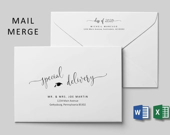Graduation Address Envelope Template Microsoft Word Mail Merge, Printable Class of 2020 Grads Calligraphy Instant Download Digital File A7