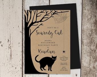 Halloween Party Invitation Template - Printable Birthday Invite - Scary Black Cat, Tree - Kraft Paper - Instant Download Digital File PDF