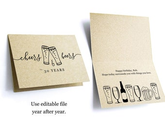 Cheers & Beers Funny Men Birthday Card Template - Happy 21st 21 30th 30 40th 40 50th 50 60th 60 Year Printable Instant Download Digital File