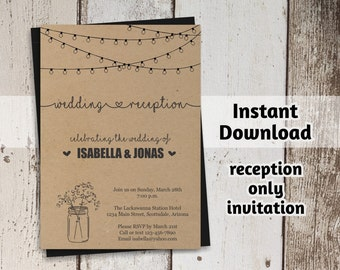 Reception Only Invitation Template - Printable Rustic Mason Jar & Fairy Lights Wedding Reception Invite  - PDF Instant Download Digital File
