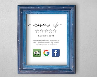 Review Request Sign Template - Printable Review Us Invitation Google Facebook Trip Advisor Logo - PDF Instant Download Digital File 8x10 5x7