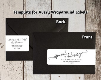 Printable Address Template for Envelope Wraparound Labels - Avery 22838 - Script Handwriting Wrap Around - Instant Download Digital File PDF