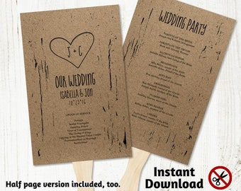 Printable Wedding Program Fan Template - Rustic Tree Wood Carved Hearts & Initials, Kraft Paper - PDF Instant Download Booklet - Half page