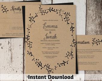 Wreath Wedding Invitation Template - BLACK INK ONLY - Printable Rustic Foliage Set on Kraft Paper - Instant Download Digital File Pdf Suite