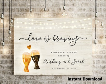 Love is Brewing Bridal Wedding Shower Welcome Sign Printable Template - Couple Beer Toast Brewery Poster DIY Instant Download Digital File