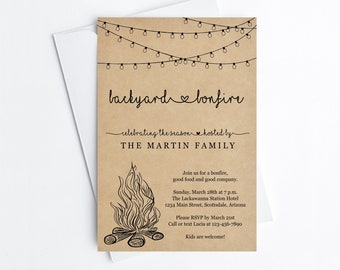 Backyard Bonfire Invitation Template - Printable Fall Winter Party, Fairy String Light, Rustic Kraft Paper Instant Download Digital File PDF