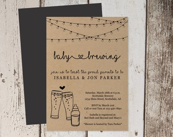 Baby Brewing Invitation Printable Template - Beer Baby Shower - Glass & Baby Bottle - Instant Download Editable PDF Digital File