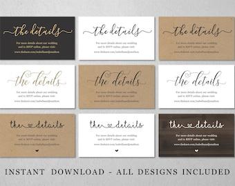 Wedding Details Website Enclosure Card Printable Template, Bridal Baby Shower Info Insert Digital File Instant Download Business Information