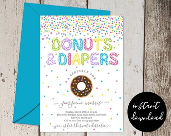 Donuts and Diapers Sprinkle Invitation Template, Printable Gender Neutral Baby Shower Party Invite & Evite, Instant Download Digital File