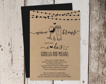Wine & Brew Before I Do Couple Shower Invitation Template, Beer Wedding Rehearsal Dinner Party, Brewery Invite Instant Download, Kraft Paper