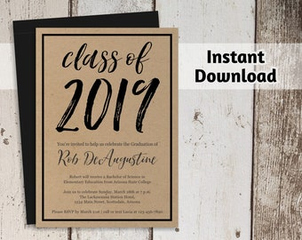 2019 Graduation Party Invitation Template - Women / Men or Girls / Boys High School or College - Printable Instant Download Digital File PDF