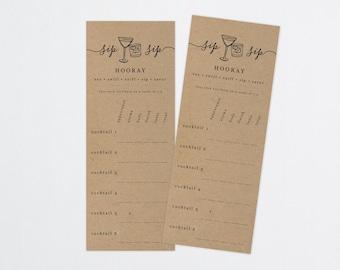 Printable Cocktail Tasting Card, Score Card Scorecard Note, Rack Card Sheet, Party, Rustic Kraft Paper, Instant Download Digital File PDF