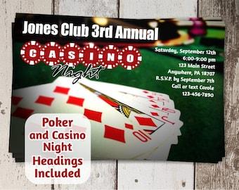 Casino Invitation, Poker Invitation, Casino Theme - Card Night Mens Birthday Bachelor Party Invite - instant digital file download printable