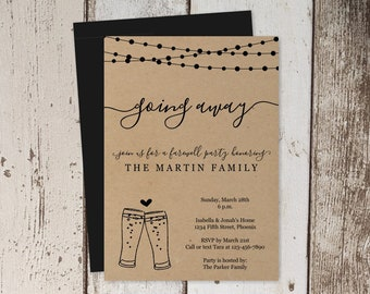 Beer Brewery Going Away Party Invitation Printable Template - Rustic Kraft Paper Farewell Bon Voyage Invite - Instant Download Digital File