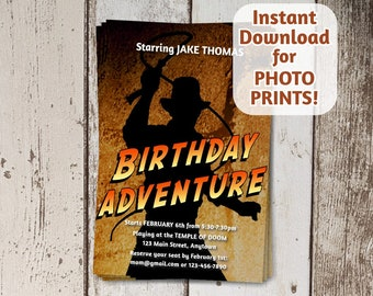 Invitation for Indiana Jones Themed Birthday Party - Instant file download - Can use to order photo prints! (printable on card stock, too!)