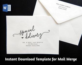 Wedding Address Envelope Template for Microsoft Word Mail Merge - Printable Modern Script Instant Download Digital File A7 - Christmas
