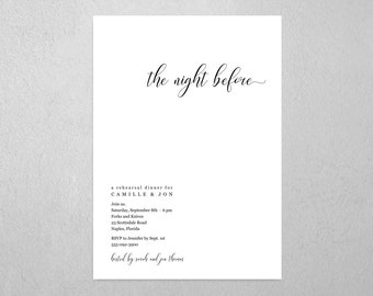 Minimalist The Night Before Rehearsal Dinner Invitation Template, Printable Modern Chic Simple Invite & Evite, Instant Download Digital File