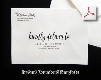 Wedding Envelope Template - Printable Envelope Address Template - Brush Script Calligraphy Instant Download Digital File A7 A2 - Christmas