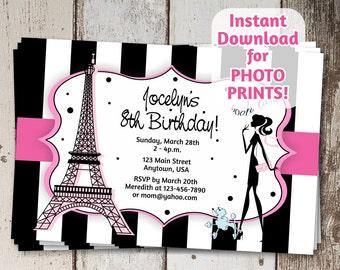 Paris France Invitation - Digital File - Birthday, Sweet Sixteen (16), Bachelorette Party, Baby / Bridal Shower
