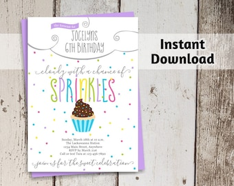 Cupcake Invitation - Girls Party Printable Template - Birthday Forecast - Cloudy with a Chance of Sprinkles - Instant Download Digital File