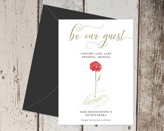 Beauty and the Beast Save the Date Card Invitation - Quinceañera Sweet Sixteen Party - Printable Template, Instant Download Digital File PDF