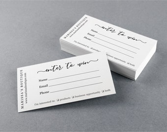 Printable Business Raffle Ticket Template, Simple Business Card Size, Enter To Win Door Prize Entry Form, Avery, Editable Instant Download