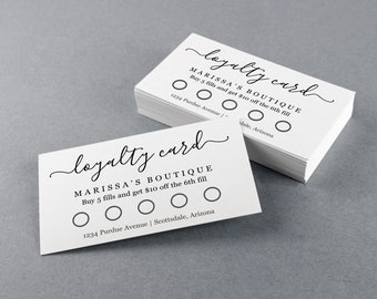 Printable Loyalty Card Template, Simple Reward Punch Card - Cardstock, Kraft Paper or Avery Business Cards - Editable PDF Instant Download