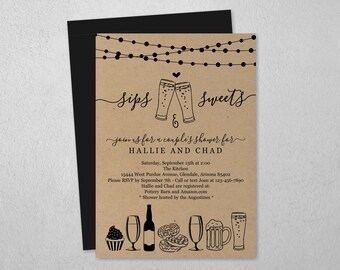 Sips & Sweet Couple Shower Invitation Template, Beer and Dessert Bridal Wedding Rehearsal Dinner Engagement Party Invite Instant Download