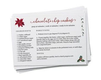 Editable Christmas Recipe Card Template - Printable Index Card Size 4x6 Easy DIY Digital File Instant Download PDF