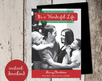 Its a Wonderful Life Movie Christmas Holiday Card Template - Add Photo Picture - Poster Cover Unique Printable Instant Download Digital File