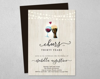 Wine & Brews Birthday Invitation Template, Printable Cheers Beers Party Invite Instant Download Digital File, 30th 30 40th 40 50th 50 Year