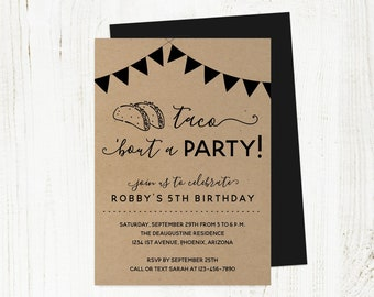 Taco Bout a Party Birthday Invitation Template, Printable Fiesta Invite Instant Download Digital File DIY PDF Kids Adult Girl Boy 1st First