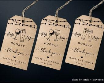 Printable Wine & Beer Tags Template, Wine Brews Favor Tasting Wedding Bridal Shower Birthday Party, Rustic Kraft Paper Download Digital File