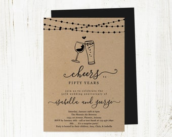 Cheers Wedding Anniversary Party Invitation Template, Wine Brew Beer Invite Instant Download Digital File Kraft 25th 25 40th 40 50th 50 Year