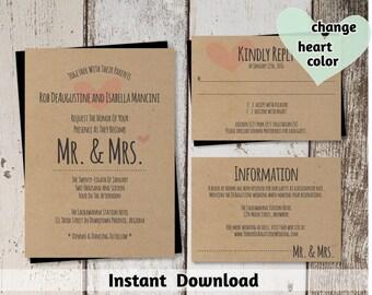 Mr & Mrs Wedding Invitation Template - Printable Set - Rustic Hearts, Kraft Paper - Download PDF File Suite - Pink Teal Navy Lavender etc