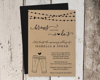 Brews Before I Do Couple Shower Invitation Template, Funny Fun Beer Brewery Bridal Wedding Rehearsal Dinner Engagement Party Invite Download