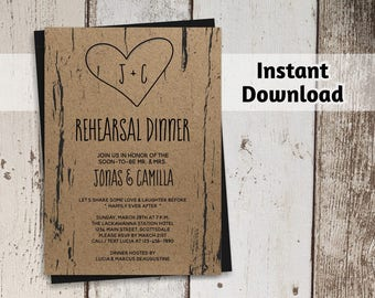 Printable Rehearsal Dinner Invitation Template, Rustic Tree Carved Initials, Kraft Paper, PDF Instant Download Digital File, Wedding Party